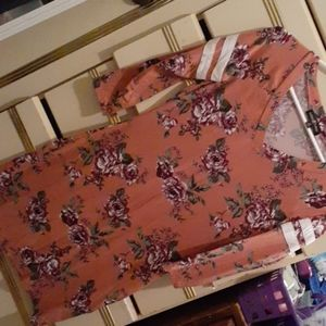 Pink floral casual dress